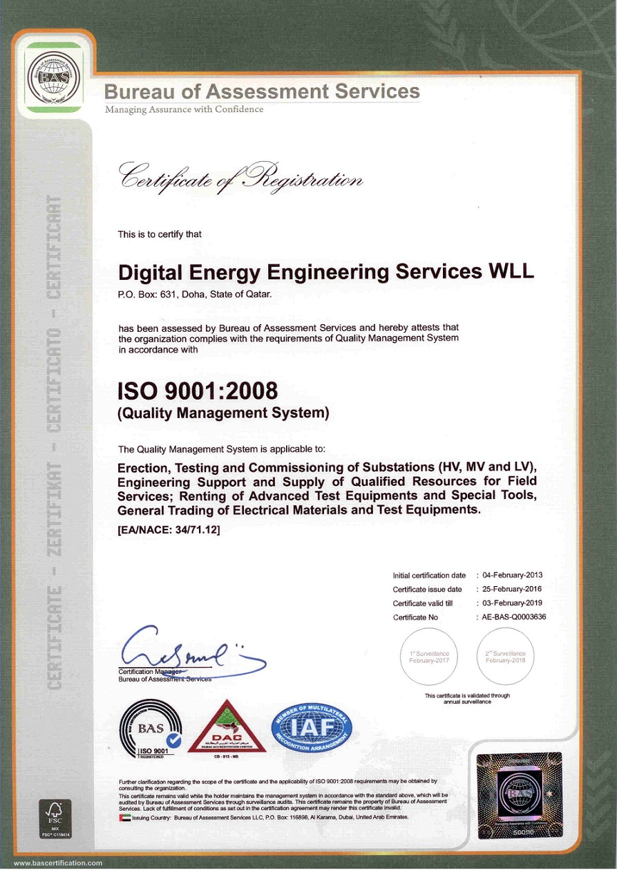 Digital Energy ISO Certificate